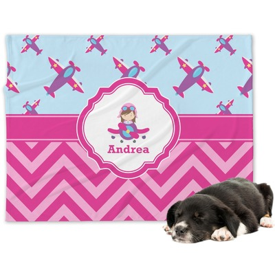 Airplane Theme - for Girls Minky Dog Blanket (Personalized)
