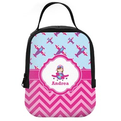 Airplane Theme - for Girls Neoprene Lunch Tote (Personalized)