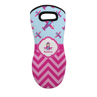 Airplane Theme - for Girls Neoprene Oven Mitt - Single w/ Name or Text