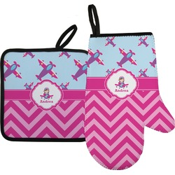 Airplane Theme - for Girls Right Oven Mitt & Pot Holder Set w/ Name or Text