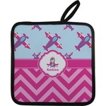 Airplane Theme - for Girls Pot Holder w/ Name or Text