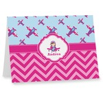 Airplane Theme - for Girls Note cards (Personalized)