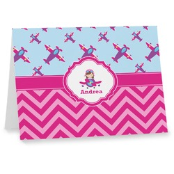 Airplane Theme - for Girls Notecards (Personalized)