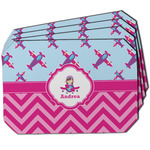 Airplane Theme - for Girls Dining Table Mat - Octagon w/ Name or Text