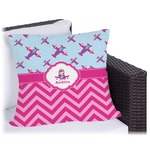 Airplane Theme - for Girls Outdoor Pillow (Personalized)