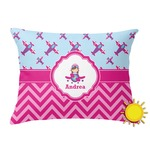 Airplane Theme - for Girls Outdoor Throw Pillow (Rectangular) (Personalized)