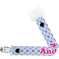 Airplane Theme - for Girls Pacifier Clips (Personalized)