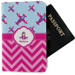 Airplane Theme - for Girls Passport Holder - Fabric (Personalized)