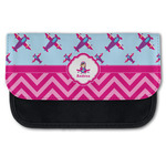 Airplane Theme - for Girls Canvas Pencil Case w/ Name or Text