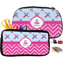Airplane Theme - for Girls Pencil / School Supplies Bag (Personalized)