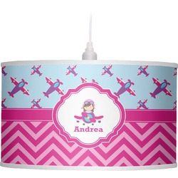 Airplane Theme - for Girls Drum Pendant Lamp Linen (Personalized)