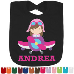 Airplane Theme - for Girls Bib - Select Color (Personalized)