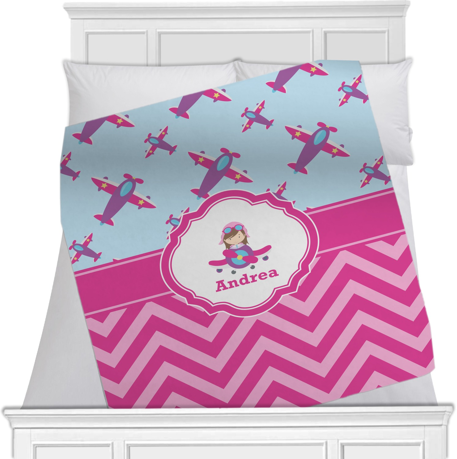 Our popular personalized baby blankets for girls feature baby's name and monogram with pretty graphics like flowers, bows, tiaras, owls, mermaids and more. Add a matching hat or headband to complete the look!