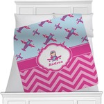 Airplane Theme - for Girls Minky Blanket (Personalized)