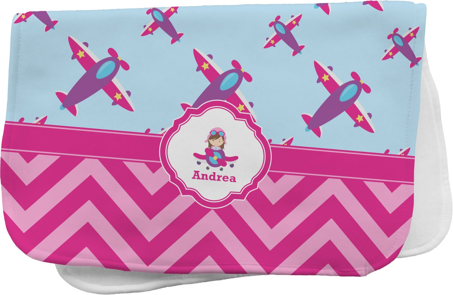 Airplane Theme For Girls Burp Cloth Personalized