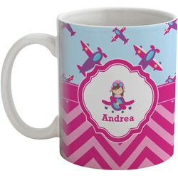 Airplane Theme - for Girls Coffee Mug (Personalized)