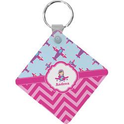 Airplane Theme - for Girls Diamond Key Chain (Personalized)
