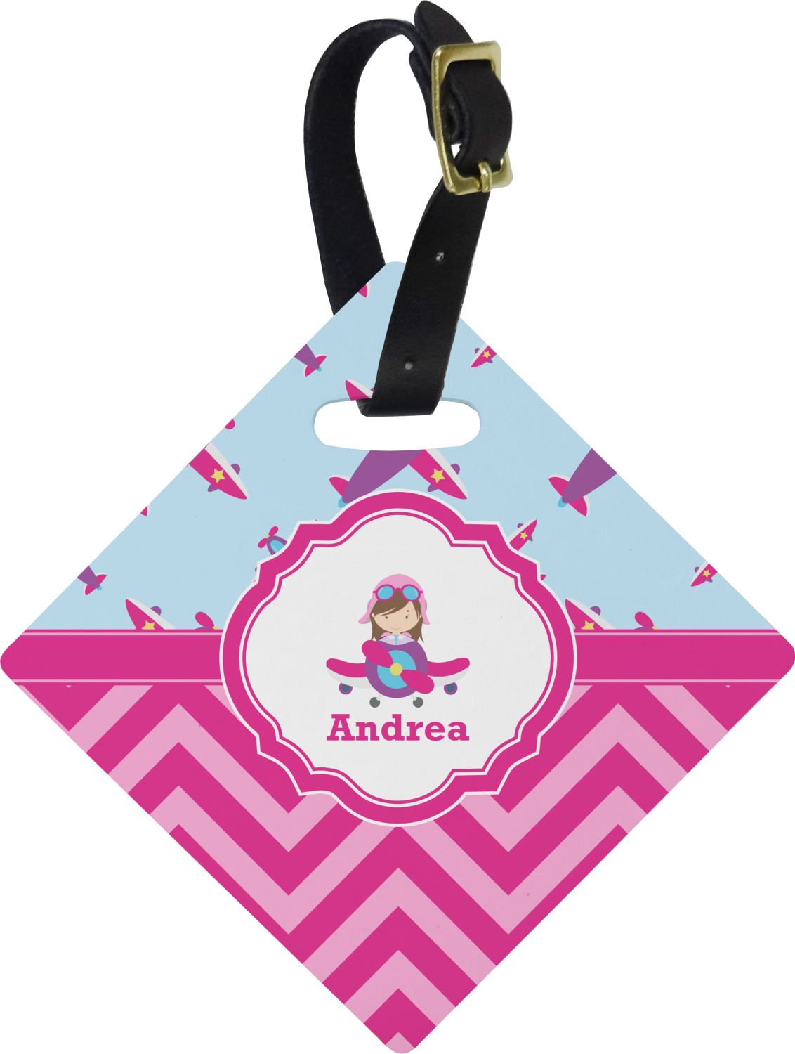 412537426a29 Airplane Theme - for Girls Diamond Luggage Tag (Personalized)