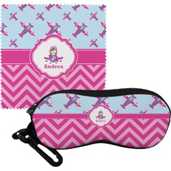Airplane Theme - for Girls Eyeglass Case & Cloth (Personalized)