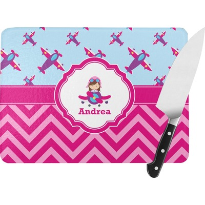 Airplane Theme - for Girls Rectangular Glass Cutting Board (Personalized)