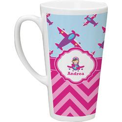 Airplane Theme - for Girls 16 Oz Latte Mug (Personalized)