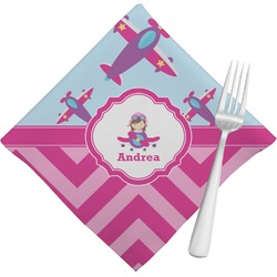 Airplane Theme - for Girls Cloth Napkins (Set of 4) (Personalized)