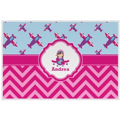 Airplane Theme - for Girls Laminated Placemat w/ Name or Text