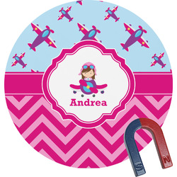 Airplane Theme - for Girls Round Magnet (Personalized)