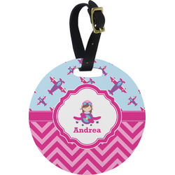 Airplane Theme - for Girls Round Luggage Tag (Personalized)
