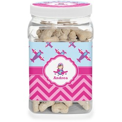 Airplane Theme - for Girls Pet Treat Jar (Personalized)