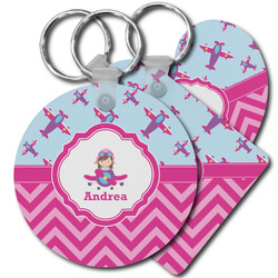 Airplane Theme - for Girls Plastic Keychains (Personalized)