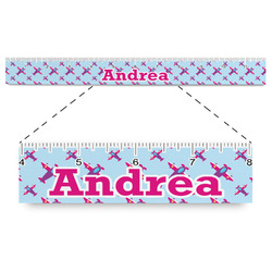 """Airplane Theme - for Girls Plastic Ruler - 12"""" (Personalized)"""