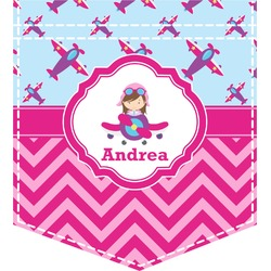 Airplane Theme - for Girls Iron On Faux Pocket (Personalized)
