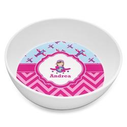 Airplane Theme - for Girls Melamine Bowl 8oz (Personalized)