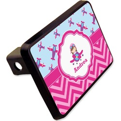 "Airplane Theme - for Girls Rectangular Trailer Hitch Cover - 2"" (Personalized)"