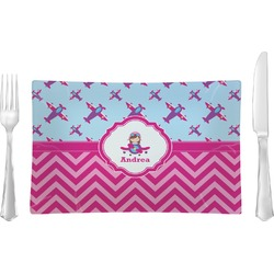 Airplane Theme - for Girls Rectangular Glass Lunch / Dinner Plate - Single or Set (Personalized)