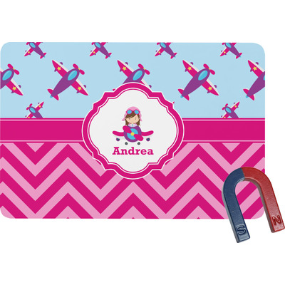 Airplane Theme - for Girls Rectangular Fridge Magnet (Personalized)