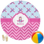 Airplane Theme - for Girls Round Beach Towel (Personalized)