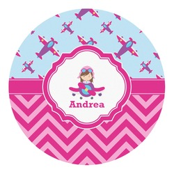Airplane Theme - for Girls Round Decal (Personalized)