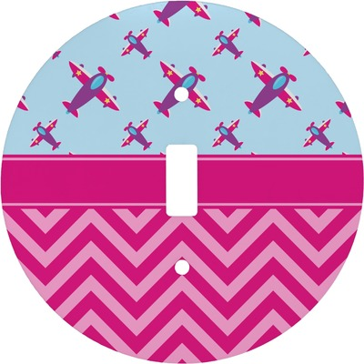 Airplane Theme - for Girls Round Light Switch Cover (Personalized)