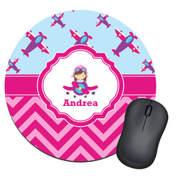 Airplane Theme - for Girls Round Mouse Pad (Personalized)