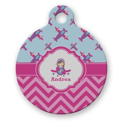 Airplane Theme - for Girls Round Pet Tag (Personalized)