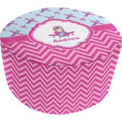 Airplane Theme - for Girls Round Pouf Ottoman (Personalized)