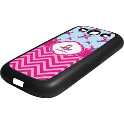 Airplane Theme - for Girls Rubber Samsung Galaxy 3 Phone Case (Personalized)