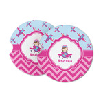 Airplane Theme - for Girls Sandstone Car Coasters (Personalized)