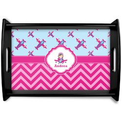 Airplane Theme - for Girls Black Wooden Tray (Personalized)