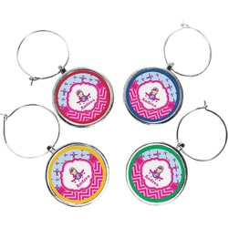 Airplane Theme - for Girls Wine Charms (Set of 4) (Personalized)