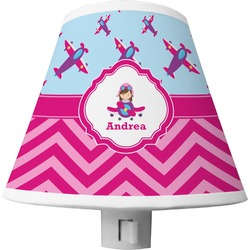 Airplane Theme - for Girls Shade Night Light (Personalized)