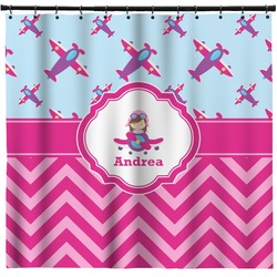 Airplane Theme   For Girls Shower Curtain   Custom Width U0026 Height  (Personalized)