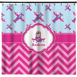 Airplane Theme - for Girls Shower Curtain (Personalized)